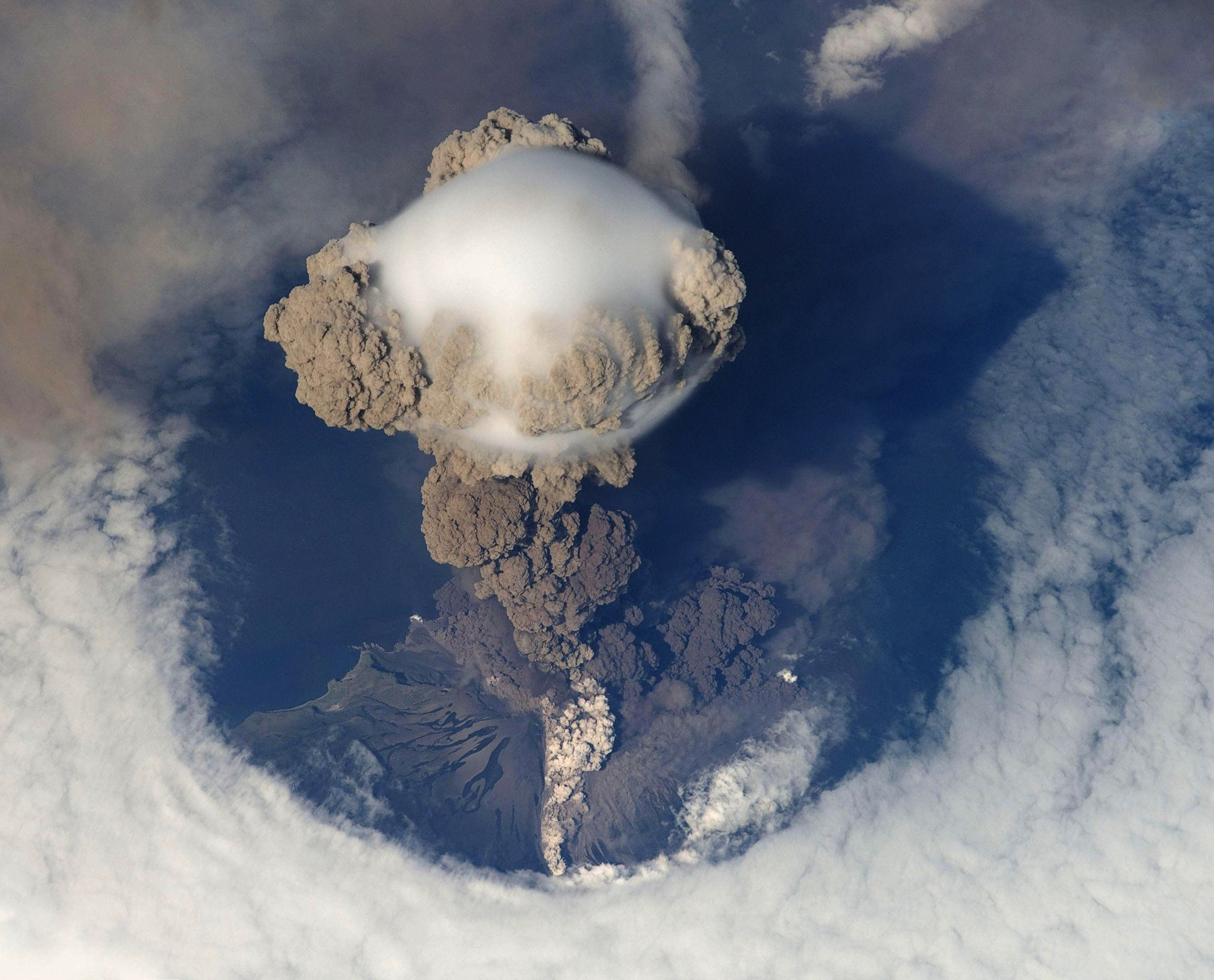 Top View of Volcano Erupting during Daytime