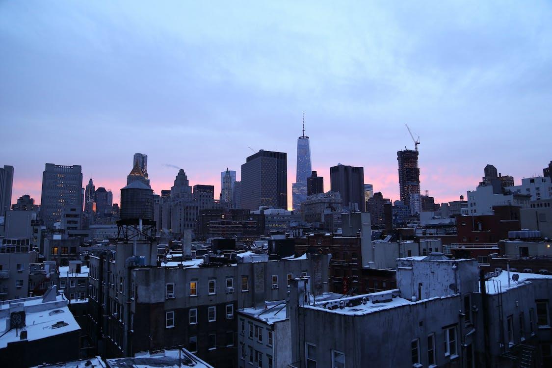 arkkitehtuuri, auringonlasku, kaupunki