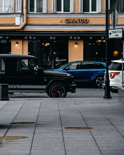 Black Suv Parked Beside the Building
