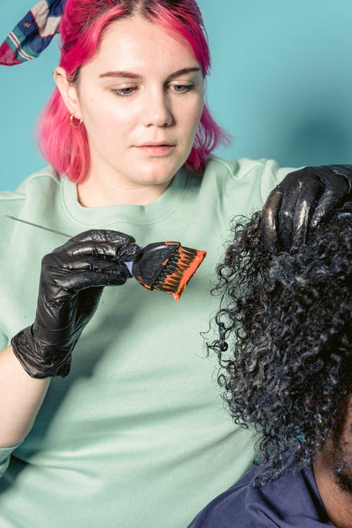 Woman in Black Leather Gloves