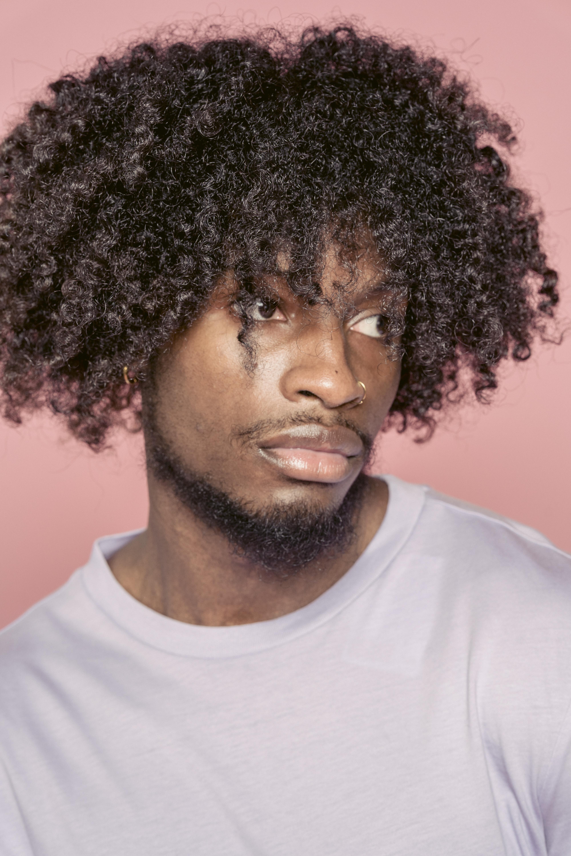 calm black man in studio