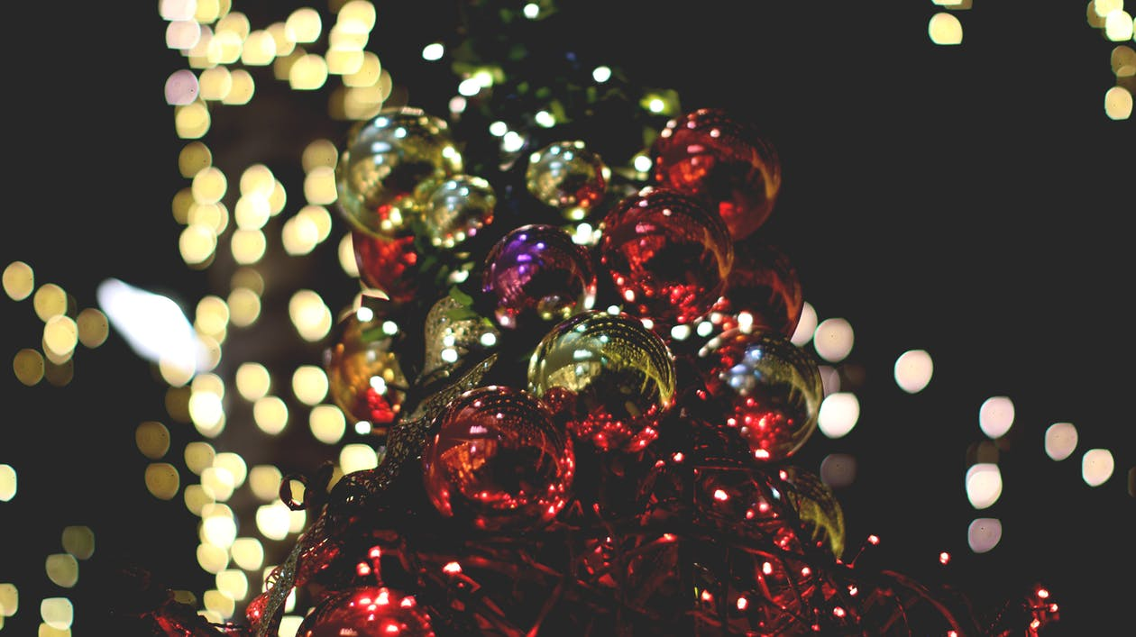 Shallow Focus of Christmas Ornaments
