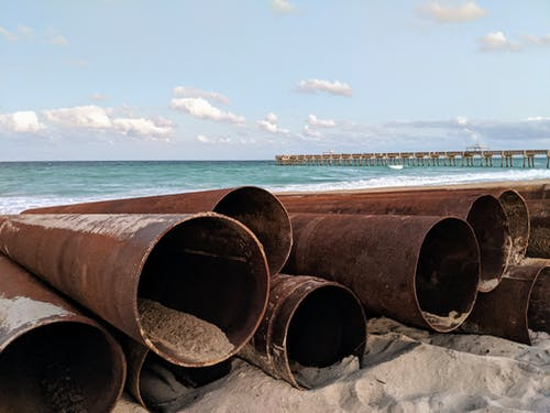 Free stock photo of beach, construction, contrast