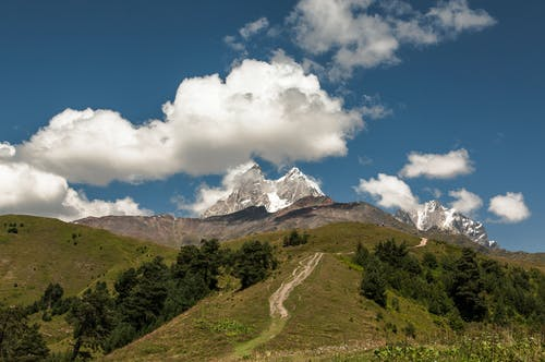 Scenery view of wavy path on mount with lush trees under blue sky with cumulus clouds in sunlight