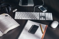 desk, notebook, pencil