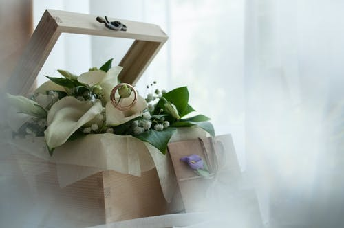 Bouquet of White Tulip with Ring Inside the Gift Box