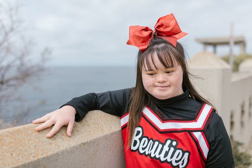 A Woman in Cheerleader Outfit