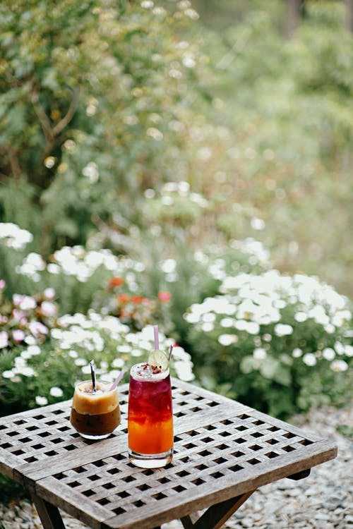 Beverages on a Table in the Garden