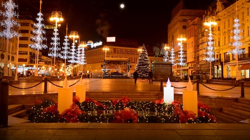 Free stock photo of Advent lights in Josip Jelacic square
