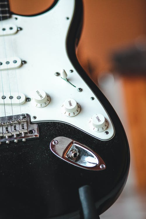 A Close-Up of an Electric Guitar Body