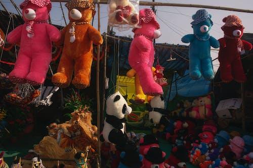 Free stock photo of animal toys, bright colours, camera focus