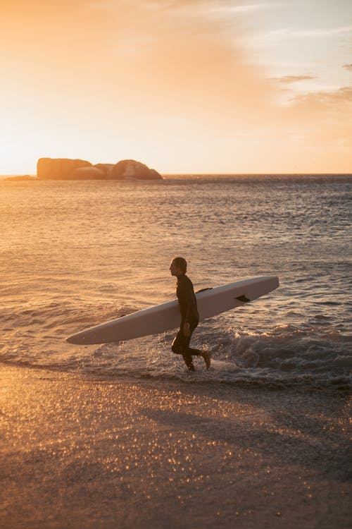 Silhouette of Person Holding Surfboard Walking on Beach during Sunset