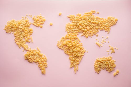 A World Map Made of Assorted Pasta