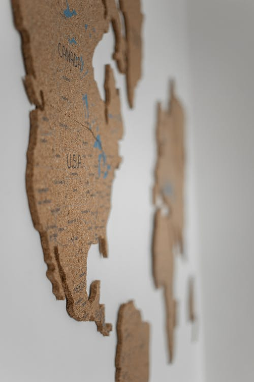 World map on white wall