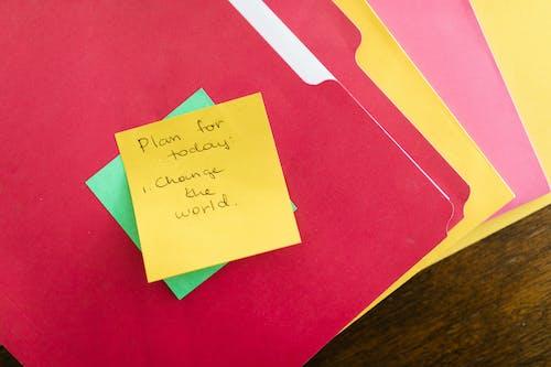 Foto stok gratis catatan, dari dekat, folder
