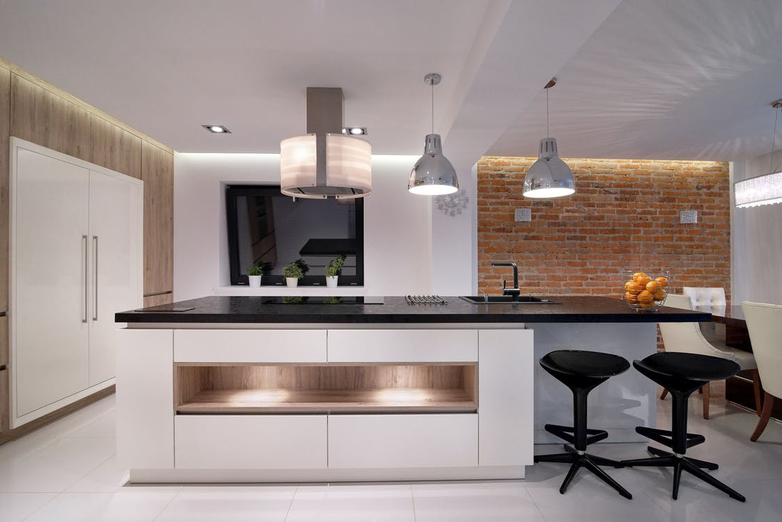 Silver Pendant Lamp on White Painted Ceiling