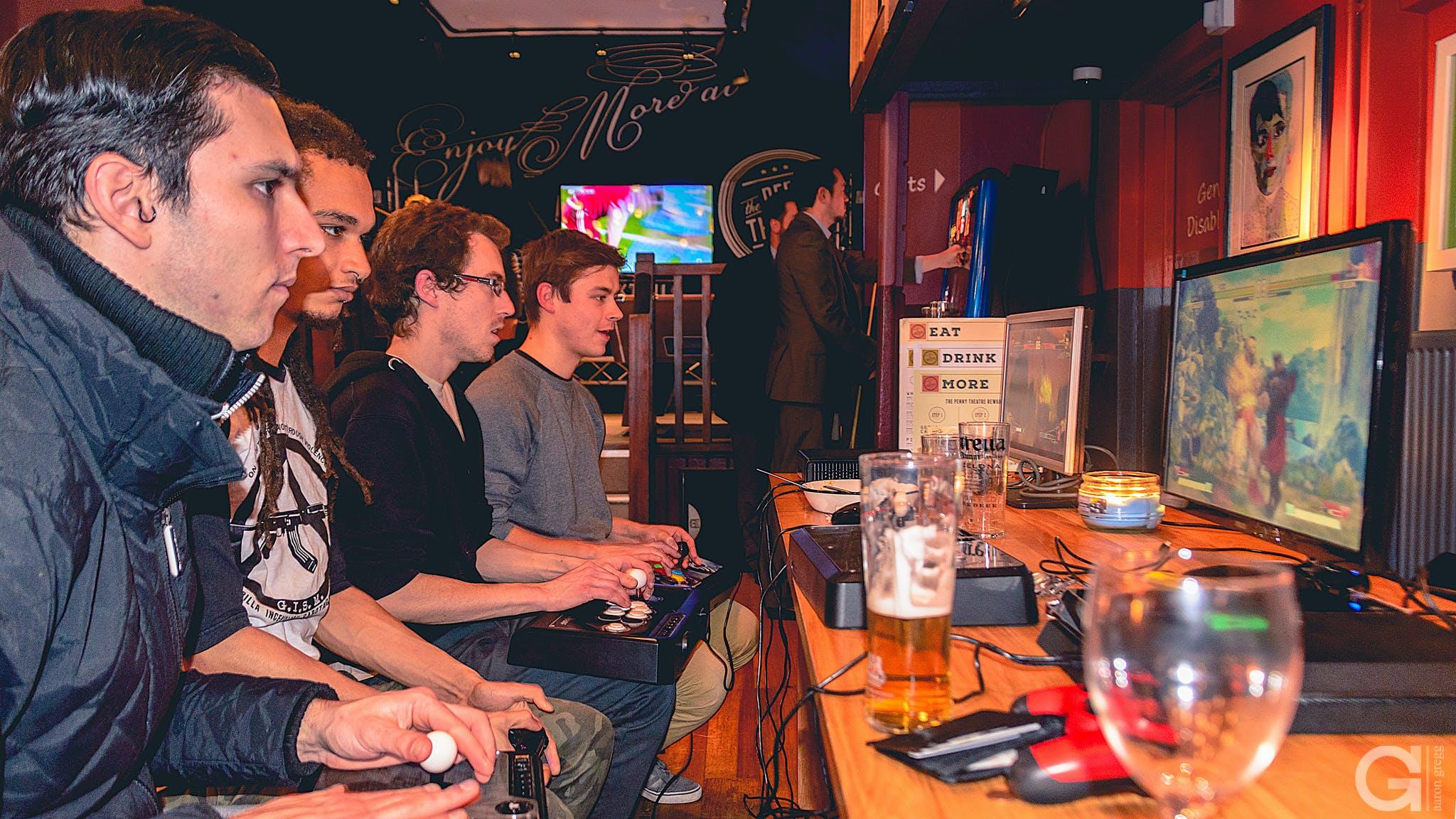 arcade, bar, beer