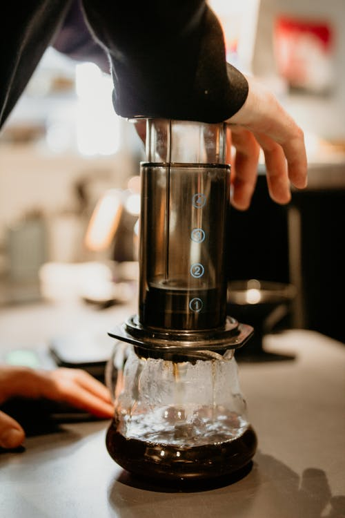 Unrecognizable skilled barista pressing professional aeropress while preparing aromatic coffee into glass pot while working in cafe on blurred background