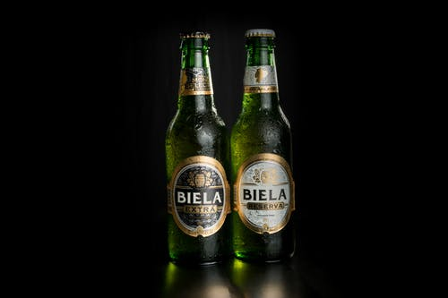 Beer Bottles with Water Droplets