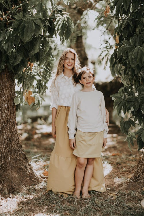Loving mother and daughter in garden
