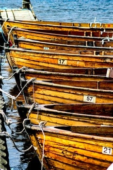 Free stock photo of water, boats, numbers, wooden