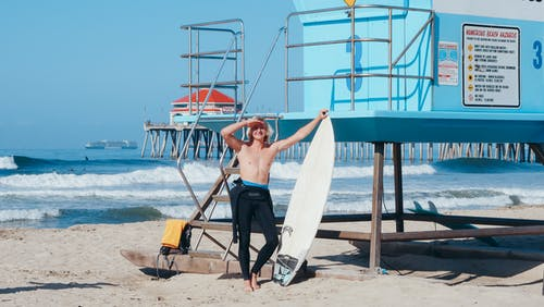 A Man by the Lifeguard Tower