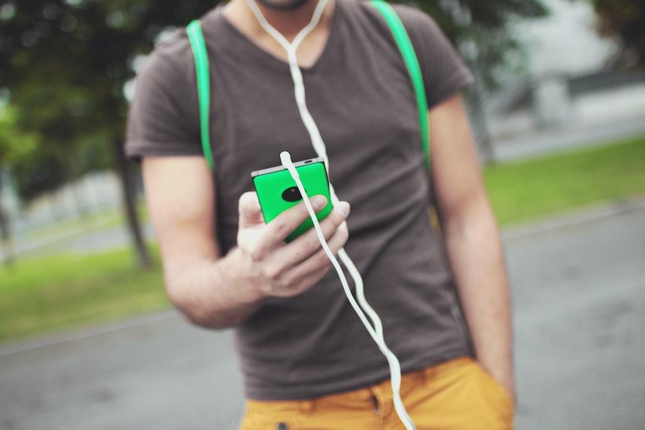 headphones, man, music