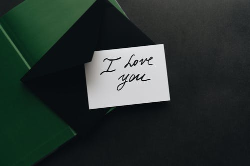 Card with I Love You Written on It