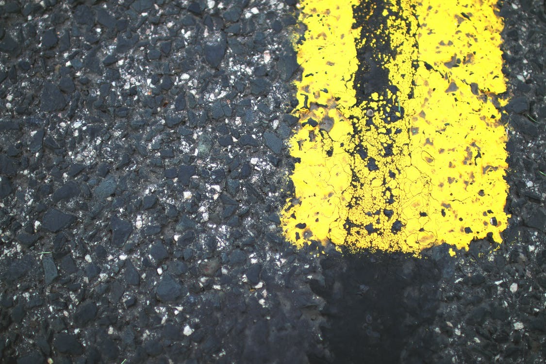 Yellow Painted Gray Road