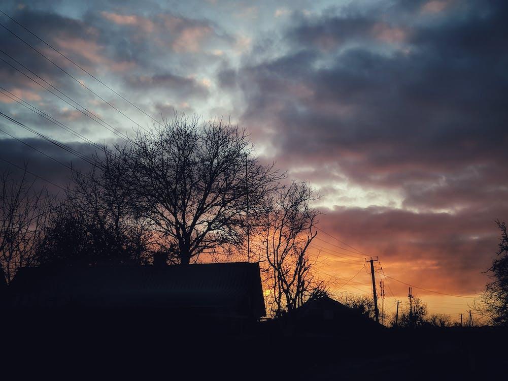 chmury, ciemny, domy