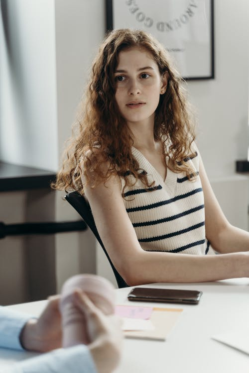 Woman Wearing a Stripe Top