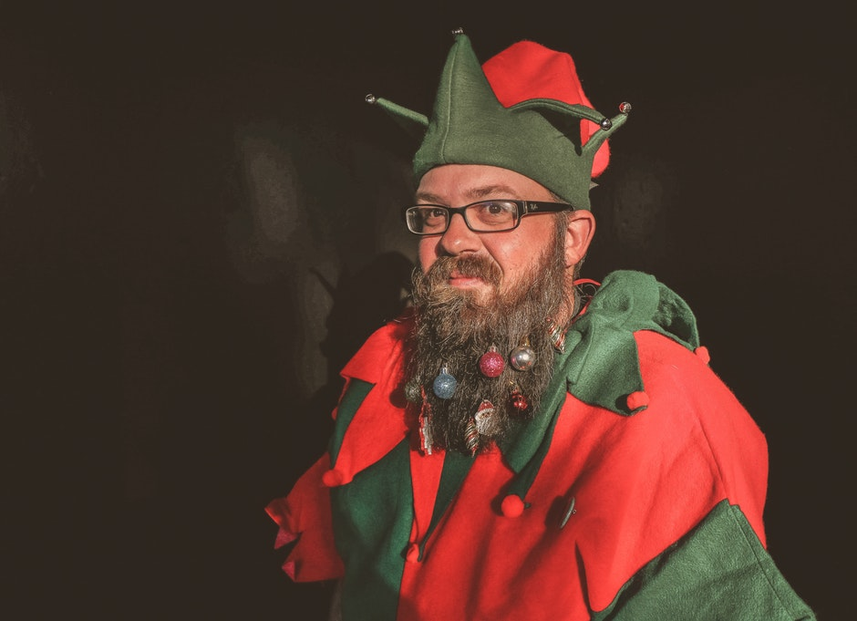 Man in Red and Green Elf Costume