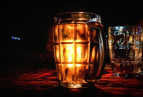 Free stock photo of beer, candle, glass, night