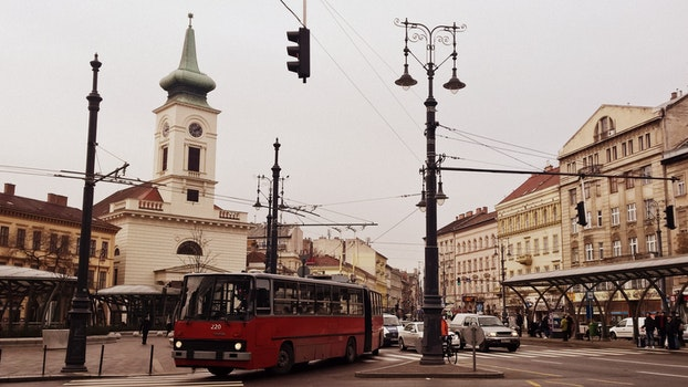 Free stock photo of city, street, bus, retro
