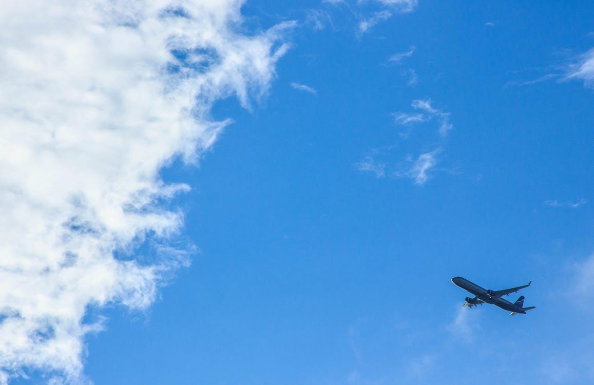 kapal terbang, langit biru, langit mendung