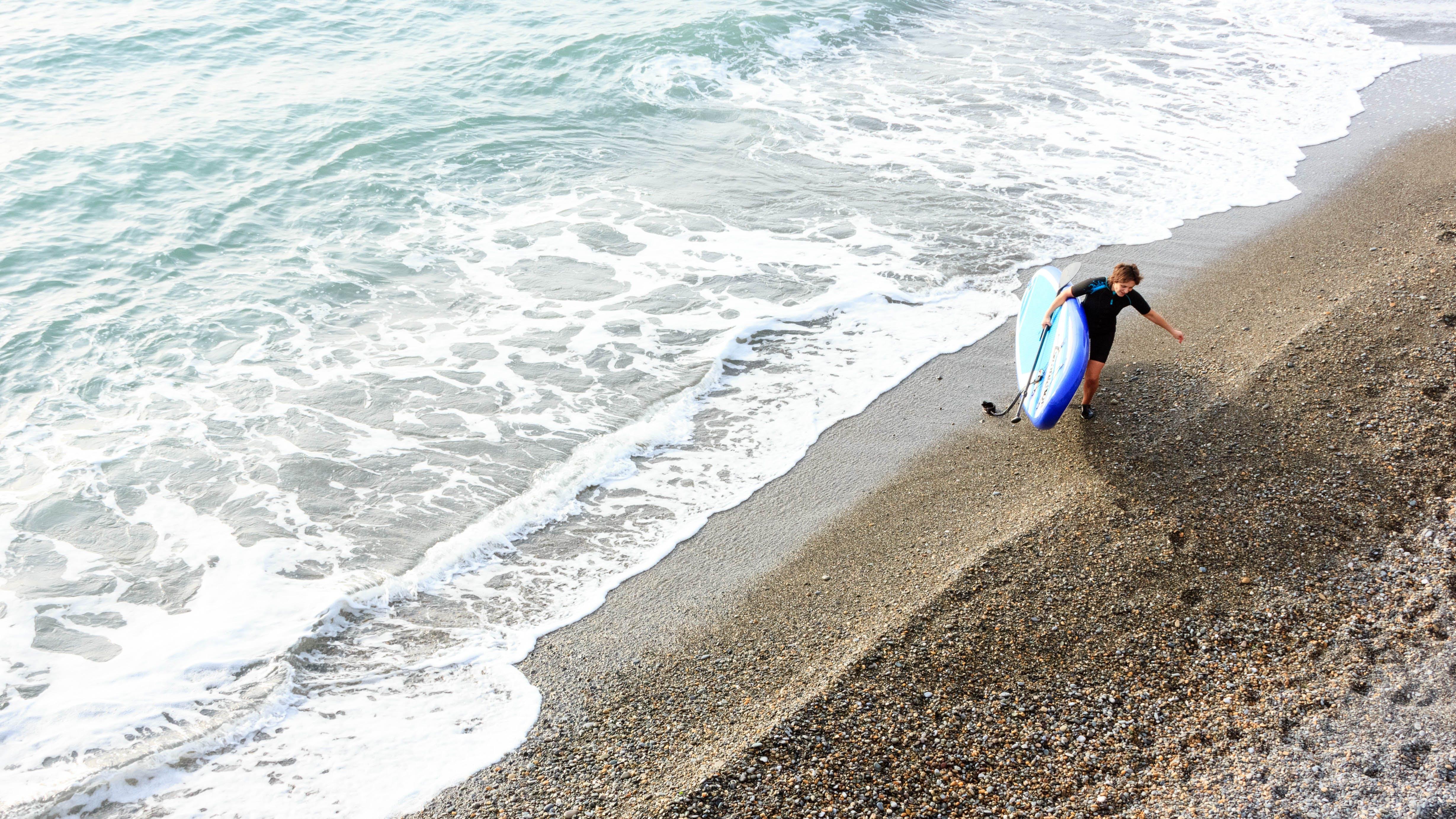 Free stock photo of sea, surfer girl