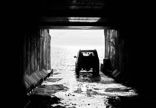 Free stock photo of sea, automobile, black and white