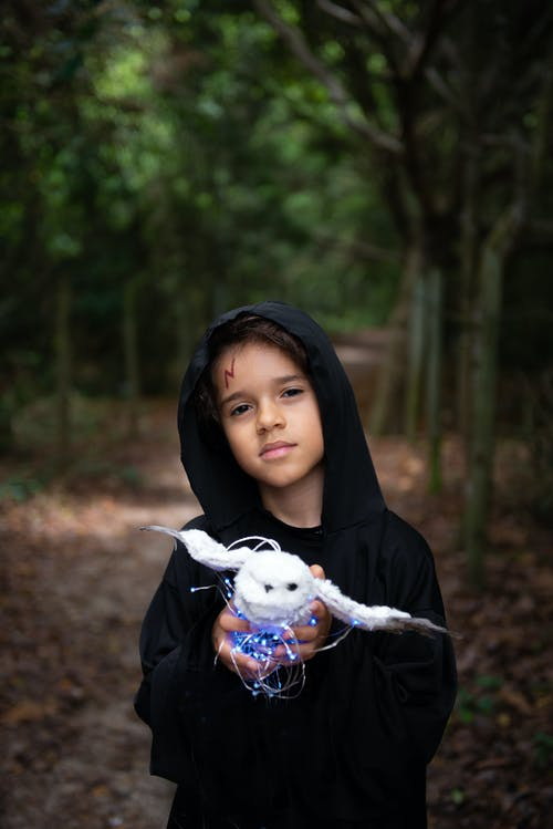 Boy in costume of magician with hood looking at camera while standing on blurred background of forest