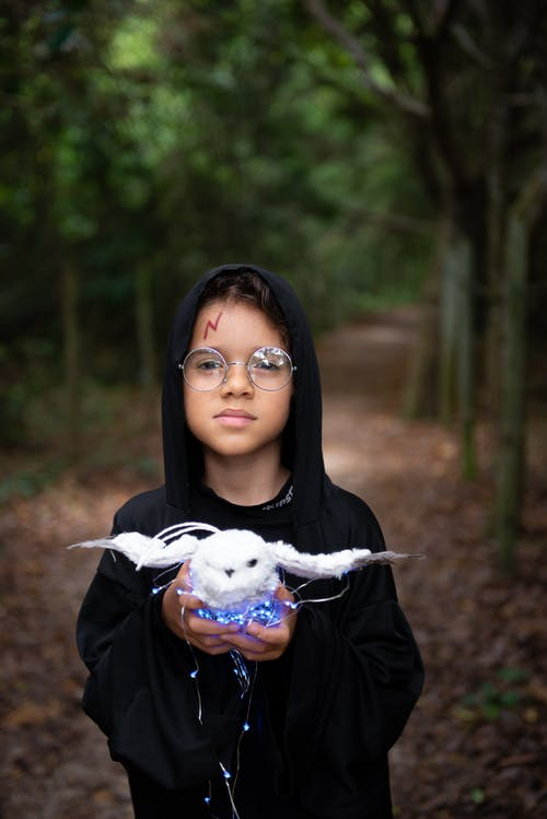 Boy in costume of wizard with owl