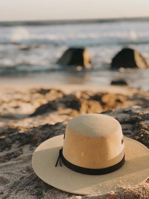 Brown Fedora Hat on Beach