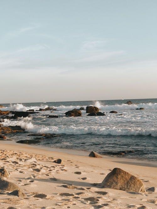 Brown Rocks on Seashore