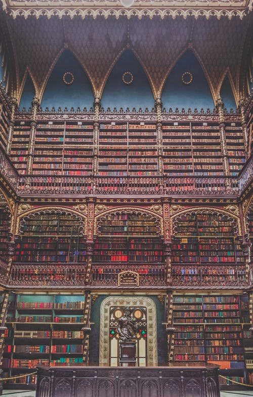 Fragment of interior of reading room in Royal Portuguese Cabinet of Reading with bookcases and ornamental elements in Neo Manueliene style located in Rio de Janeiro in Brazil
