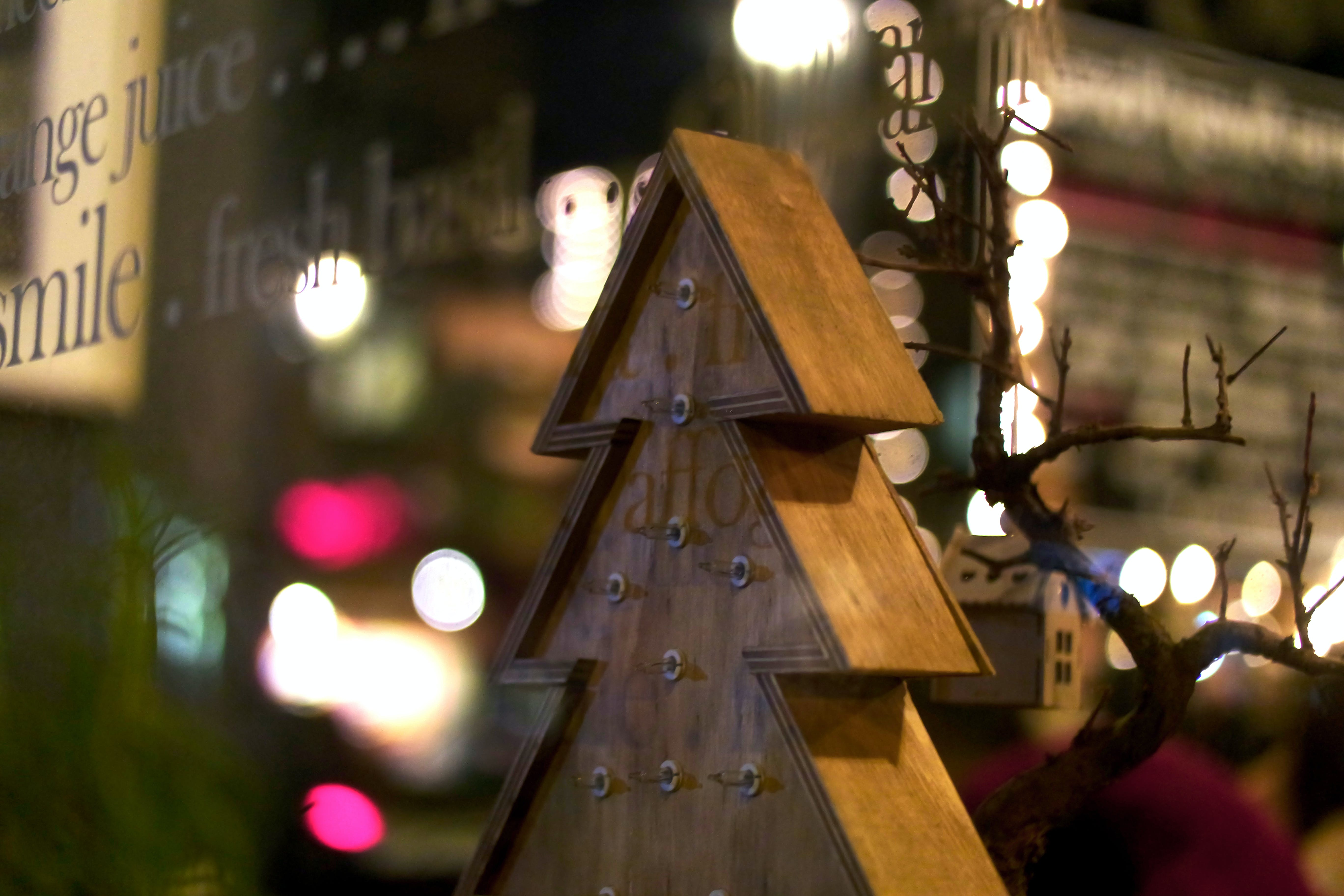 Brown Wooden Christmas Tree Design Decor Near Bulbs