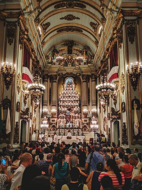 Interior of catholic church with worships