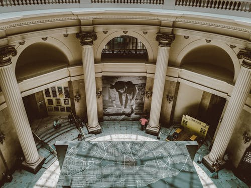 Interior of art gallery with classic architecture