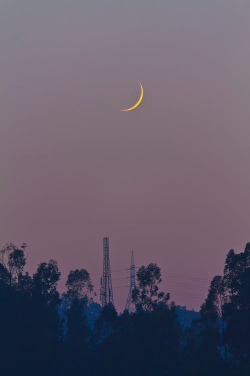 Crescent Moon during Night