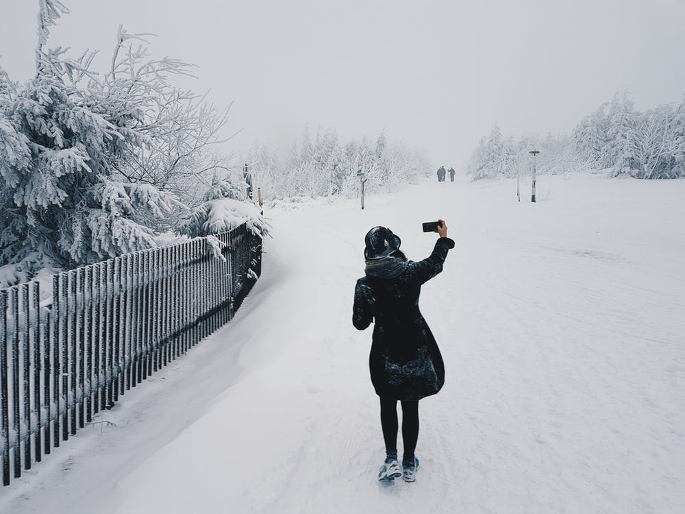 Woman in Snow Field