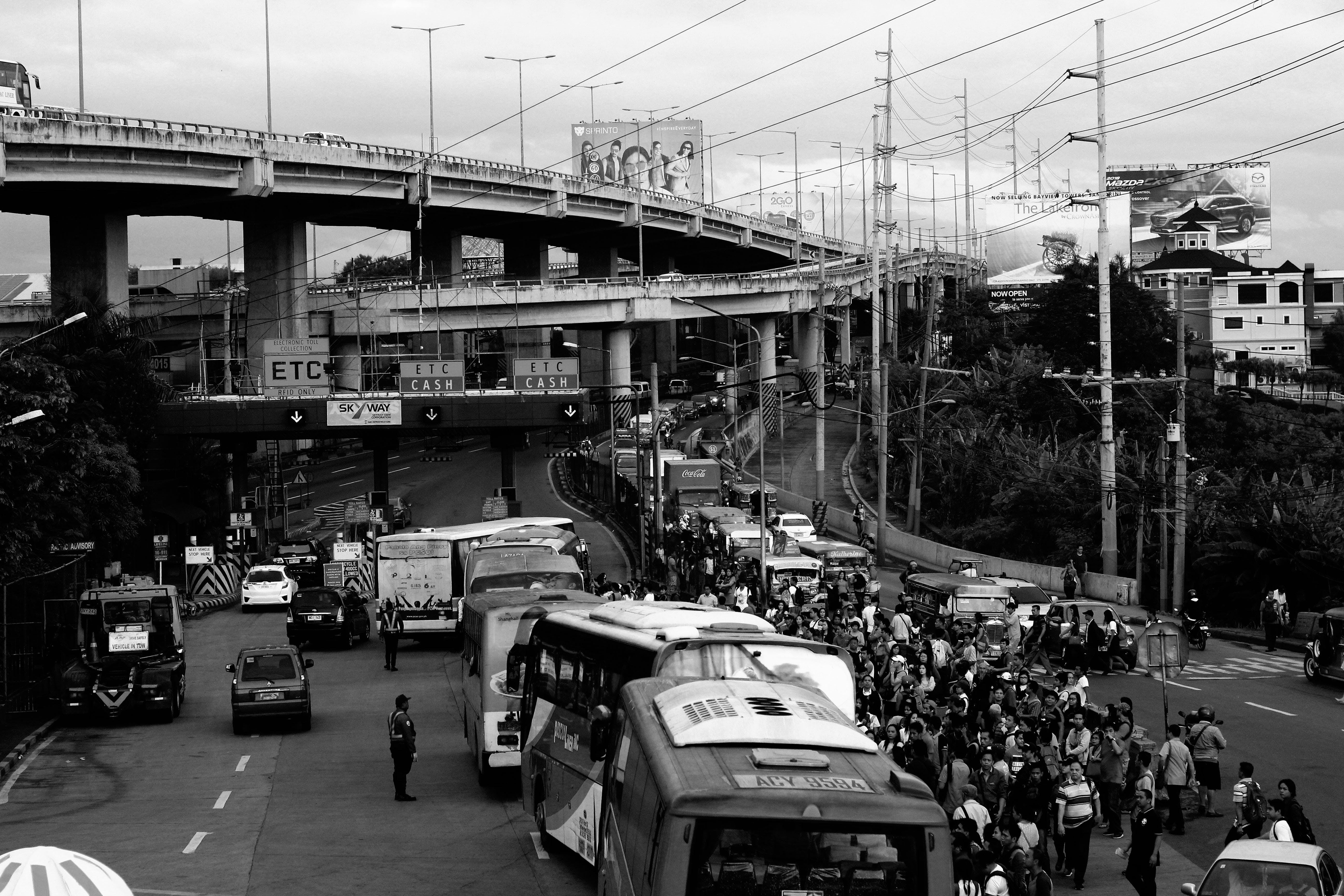 Jammed Traffic in Gray Scale Photography
