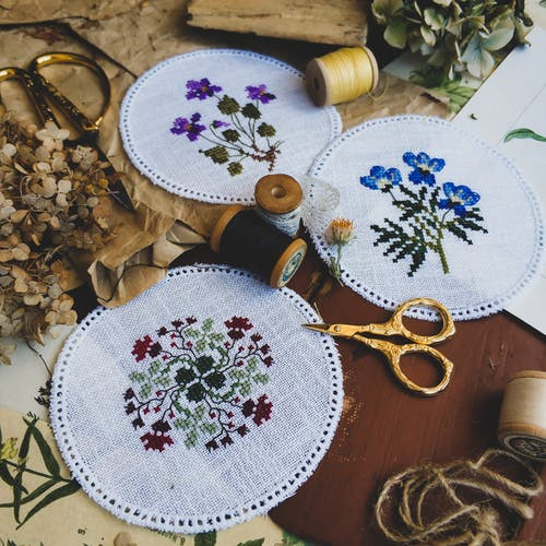 Skeins of thread and scissors for embroidery