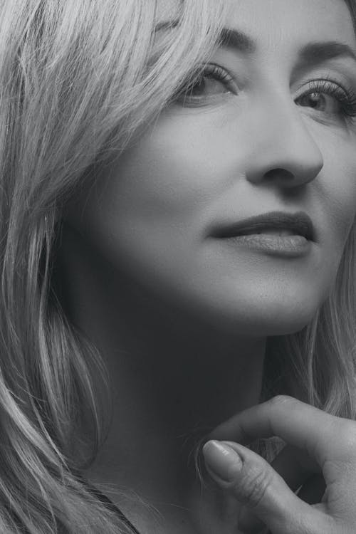 Grayscale Photo of a Woman's Face